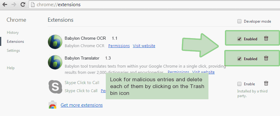 chrome-extensions Ta bort Enigma