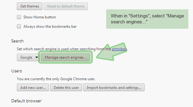 chrome-manage-search Hvordan fjerner Houmpage(.)com