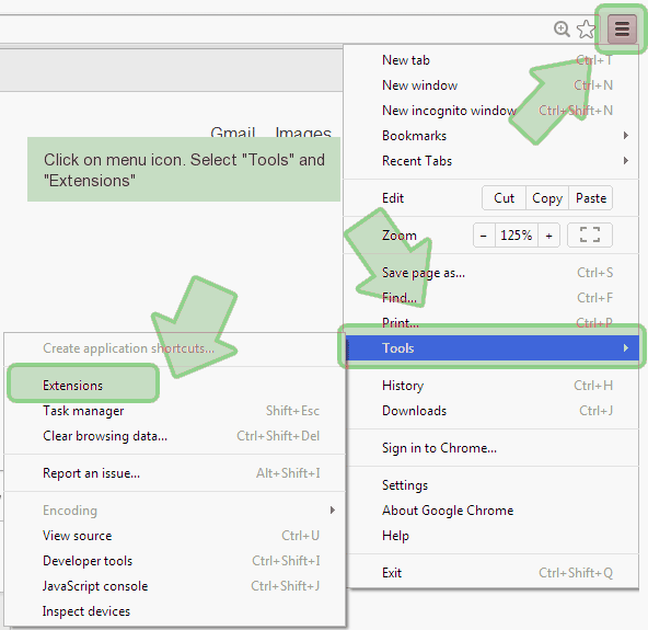 chrome-menu-tools Come eliminare Yocoursenews