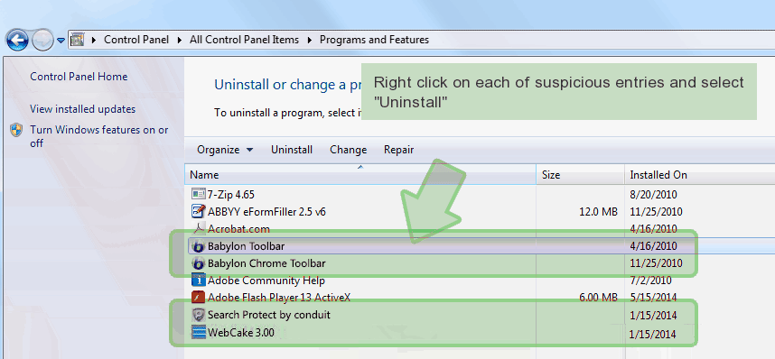 control-panel-uninstall Comment supprimer Search.searchlson(.)com