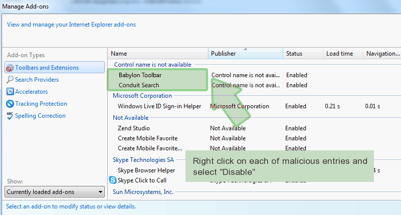 ie-manage-addons Comment supprimer MNSCRYPTOLOCKER