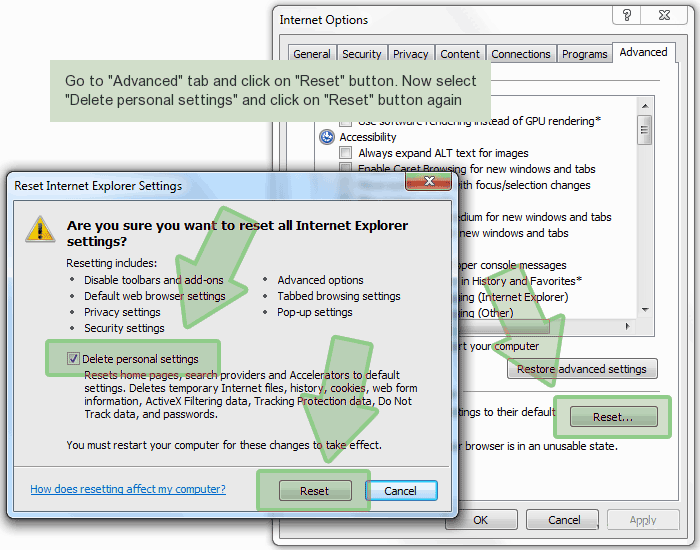 ie-reset Chrominio Message Center poisto